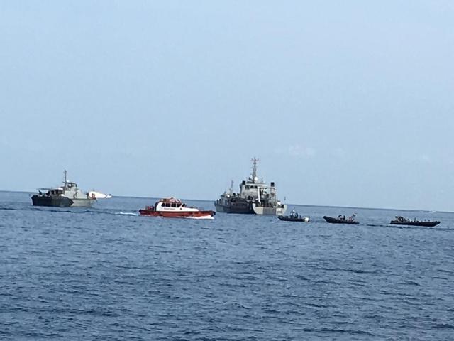 Pencarian di sekitar lokasi jatuhnya Lion Air JT610 di Perairan Karawang. Medcom.id/ Dian Ikhsan