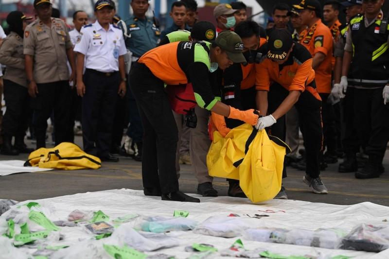 Personel Basarnas dan relawan membawa kantong jenazah ketika evakuasi pesawat Lion Air JT 610 yang jatuh di perairan Kerawang, di Posko Penyelamatan Lion Air, Dermaga JICT 2. Antara Foto/Wahyu Putro A