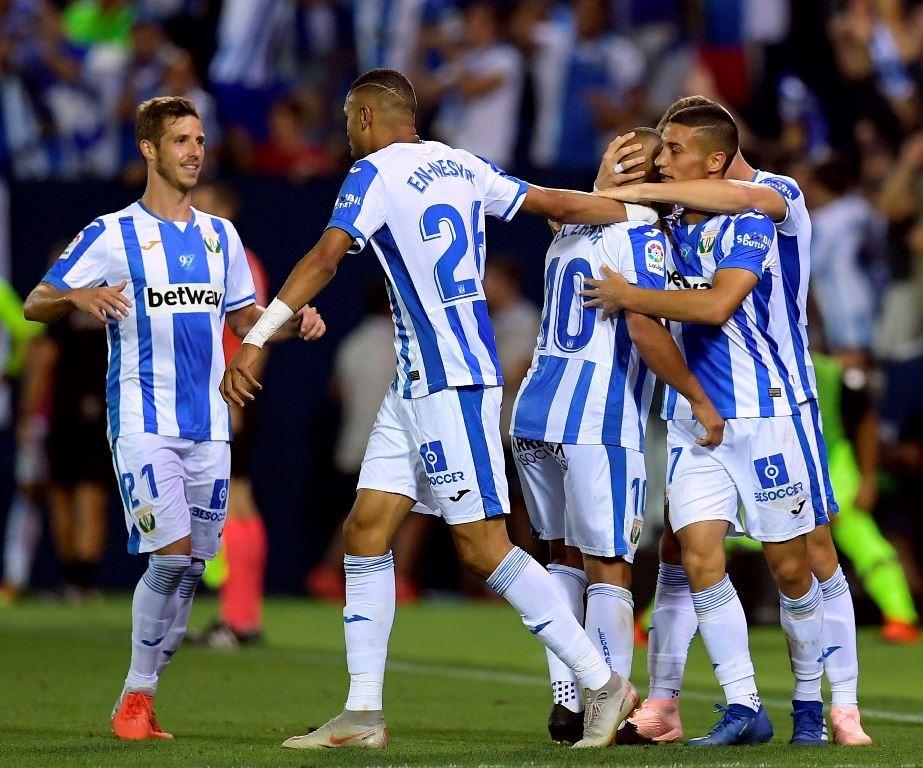 Selebrasi gol para pemain Leganes. (OSCAR DEL POZO / AFP)