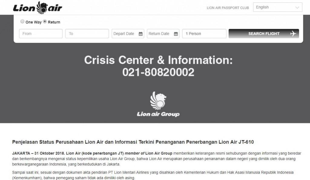 Tampilan situs Lion Air.