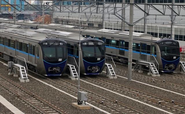 Rangkaian kereta mass rapid transit (MRT) Jakarta. Foto: Antara/Rivan Awal Lingga..