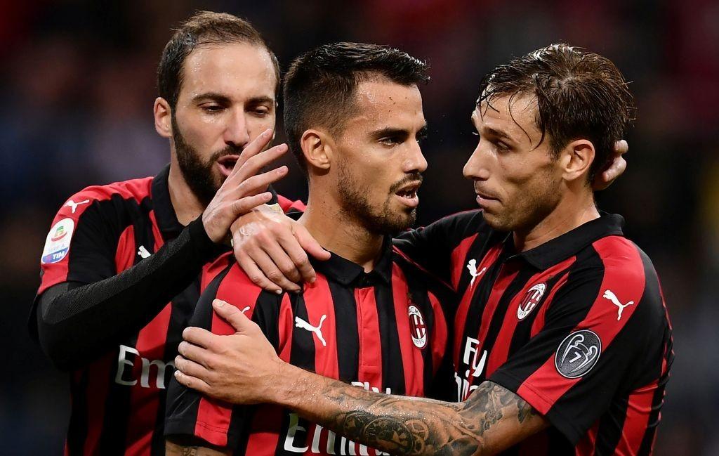 Suso (tengah) sukses mencetak gol kemenangan untuk Milan saat menghadapi Sampdoria (Foto: AFP/Marco Bertorello)