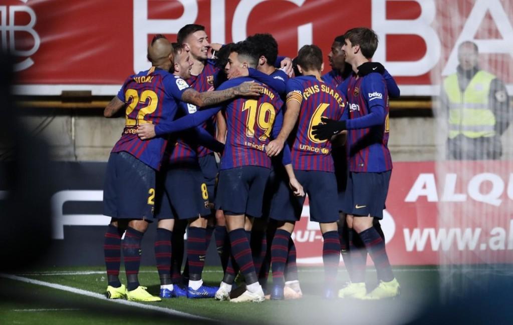 Para pemain Barcelona merayakan gol Clement Lenglet ke gawang Cultural Leonesa (Foto: Barcelona)