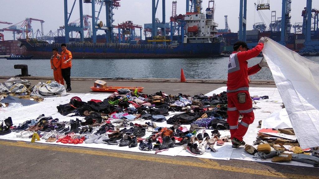 Barang-barang yang diduga berasal dari pesawat Lion Air PK-LQP yang jatuh di perairan Tanjung Karawang. Foto: Medcom.id/Fachri Audhia Hafiez