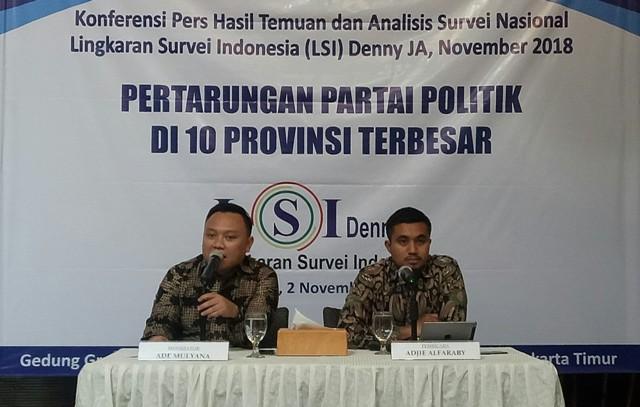 Peneliti LSI Denny JA, Adjie Alfaraby (kanan). Foto: Medcom.id/Arga Sumantri.