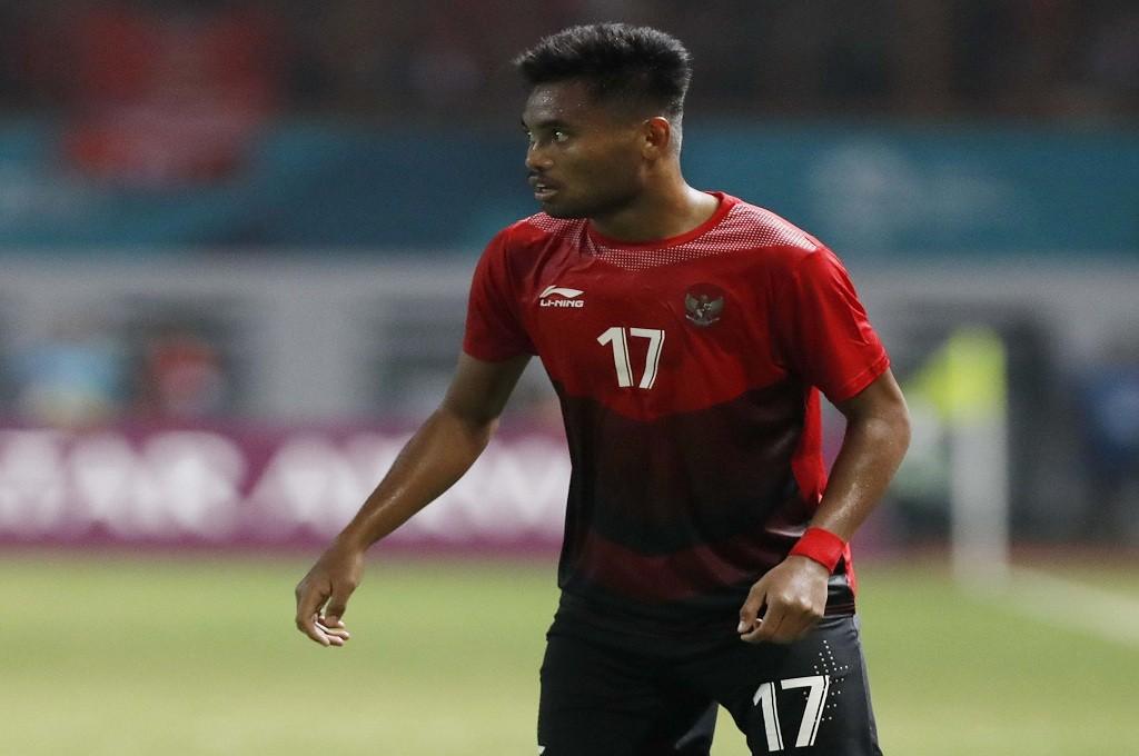Pesepak bola Saddil Ramdani saat melawan Uni Emirat Arab pada 16 besar Asian Games 2018 di Cikarang, Jumat, 25 Agustus 2018, MI - Rommy Pujianto