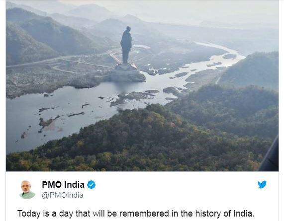 Melalui akun Instagram-nya, PM India Narenda Modi mengumumkan selesainya pembangunan patung Sardar Vallabhbhai Patel.