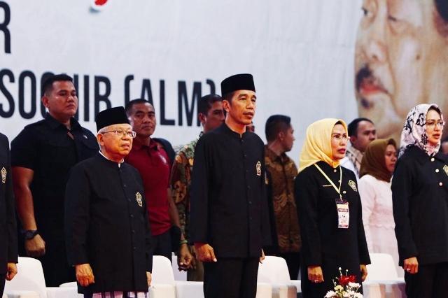 Calon Presiden Joko Widodo dan calon Wakil presiden KH Ma'ruf Amin dalam deklarasi dukungan ulama, pendekar, dan relawan Banten. Foto: Istimewa