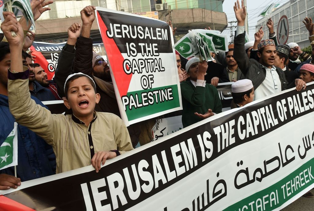 Warga Pakistan yang menolak Yerusalem menjadi ibu kota Israel. (Foto: AFP)