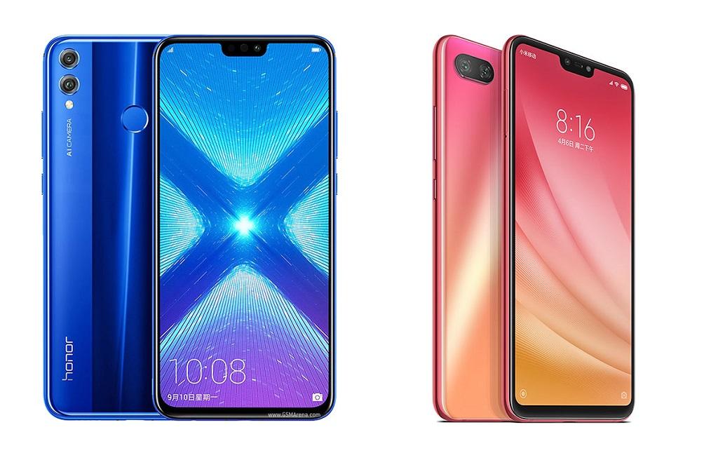 Honor 8X (kiri) dan Xiaomi Mi 8 Lite (kanan).