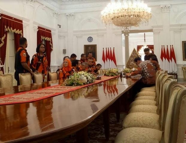 Presiden Joko Widodo menerima organisasi masyarakat Pemuda Pancasila (PP)--Medcom.id/Achmad Zulfikar Fazli.