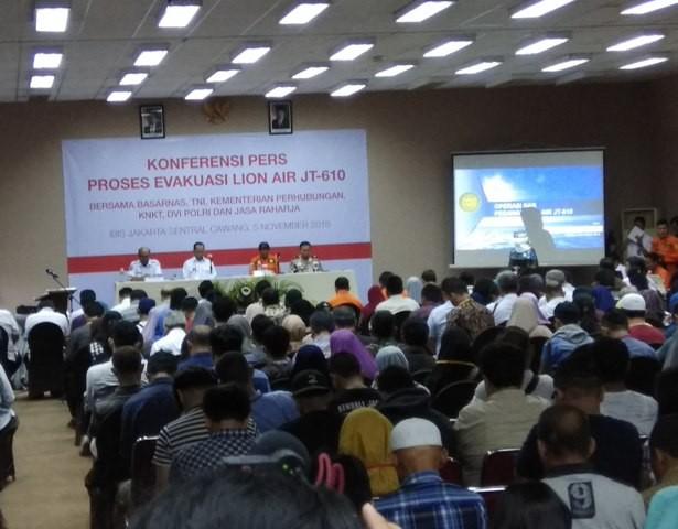 Konferensi pers proses evakuasi pesawat Lion Air PK-LQP. Foto: Medcom.id/Fachri Audhia Hafiez