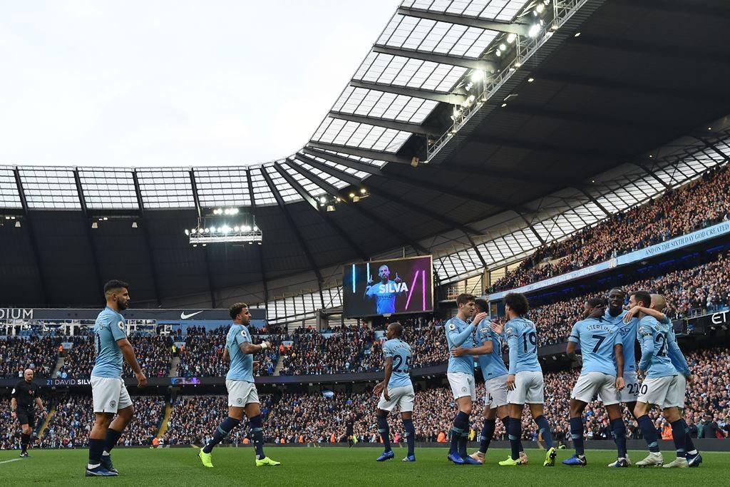 Para pemain Manchester City merayakan kemenangan atas Southampton (Foto: AFP/PAUL ELLIS)