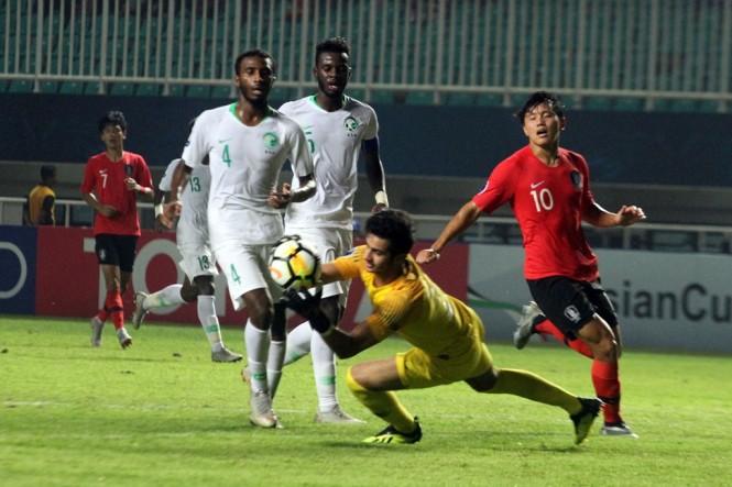 Suasana pertandingan Korsel vs Arab Saudi. (Foto: Ant/Yulius Satria Wijaya)