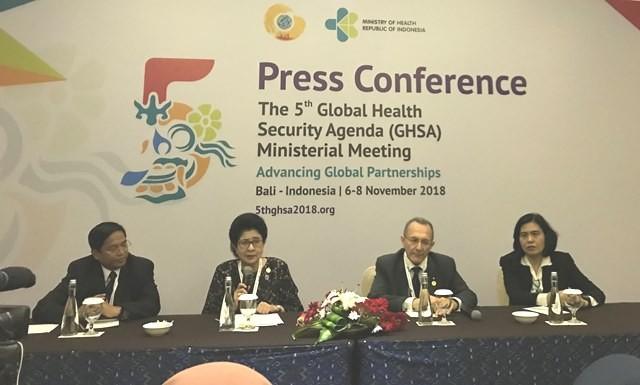 Pertemuan Tingkat Menteri Global Health Security Agenda (GHSA) ke-5 di Bali Nusa Dua Convention Center (BNDCC), Bali. (Foto: Dok. Medcom.id/Raka Lestari)
