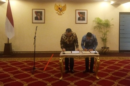 Penandatanganan kerja sama antara Sekretariat Presiden dan IPB. Foto: Medcom.id/Achmad Zulfikar Fazli..