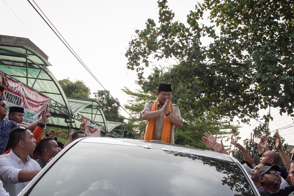 calon presiden nomor urut 02, Prabowo Subianto. (ANT/MOHAMMAD AYUDHA)