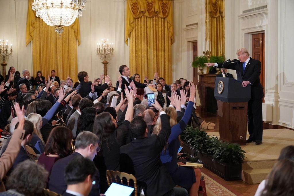 Presiden AS Donald Trump saat konferensi pers di Gedung Putih. (Foto: AFP)