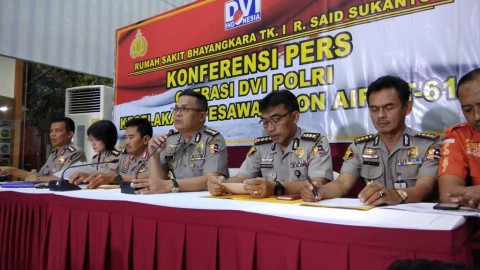 Konfrensi pers DVI Polri terkait jenazah penumpang Lion Air