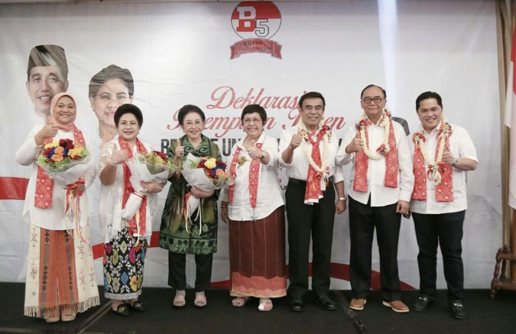 Ketua TKN Joko Widodo-Ma'ruf Amin, Erick Thohir bersama komunitas Perempuan Keren Bravo 5 - dok TKN.