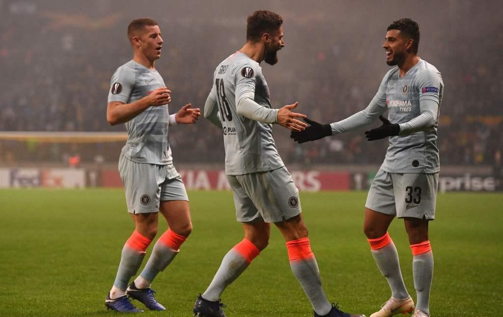 Olivier Giroud (tengah) sukses membawa Chelsea meraih kemenangan di markas BATE Borisov berkat golnya (Foto: AFP/Kirill Kudryavtsev)