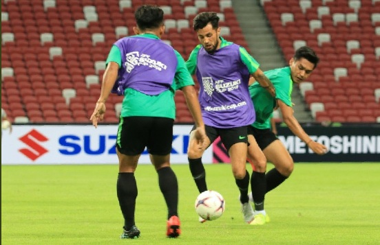 Skuat timnas Indonesia saat menjajal National Stadium (Foto: PSSI)