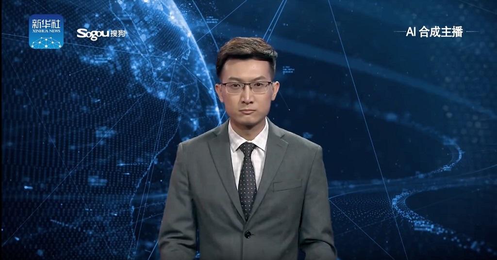 Salah satu pembaca berita AI dari Xinhua.
