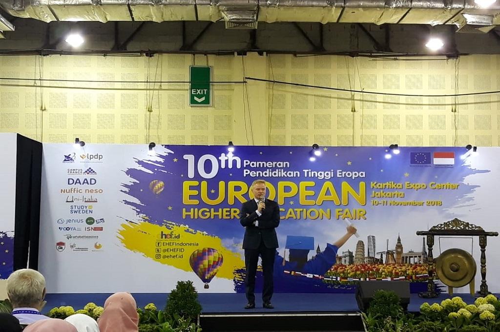 Dubes UE untuk Indonesia Vincent Guerend dalam EHEF ke-10 di Jakarta. (Foto: Marcheilla Ariesta)