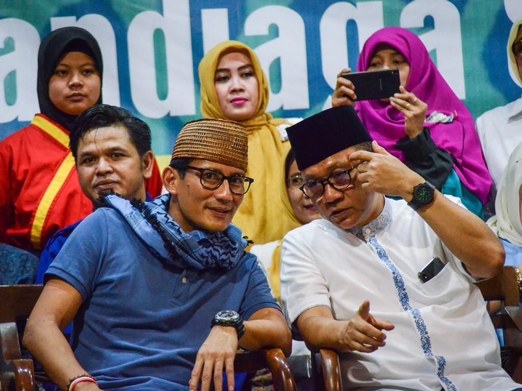 Calon Wakil Presiden nomor urut 02 Sandiaga Uno (kiri). Foto: Antara/Raisan Al Farisi.