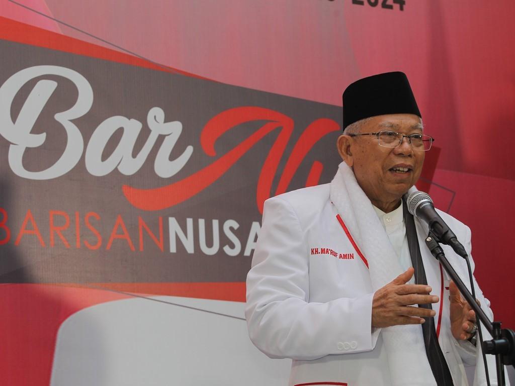 Calon wakil presiden nomor urut satu KH Ma'ruf Amin menyampaikan kata sambutan pada acara deklarasi dukungan Barisan Nusantara. Foto: MI/Pius Erlangga.