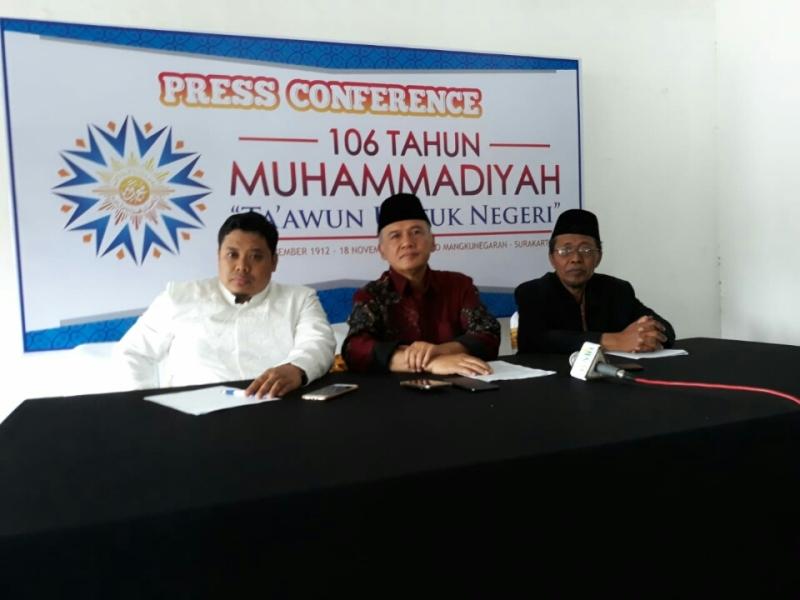 Konferensi pers milad Muhammadiyah di Solo, Jawa Tengah, Minggu, 18 November 2018. Medcom.id/ Pythag Kurniati.