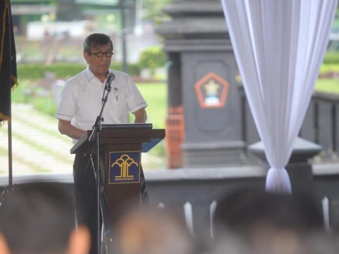 Menteri Hukum dan HAM Yasonna Laoly saat memberikan sambutan di Balai Kota Malang. Foto: Pemkot Malang