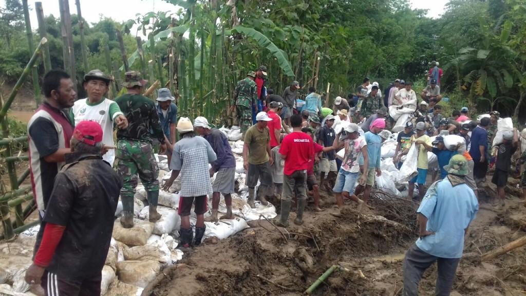 Relawan tengah menambal tanggul dengan ribuan karung di sungai Cisanggarung, Losari, Brebes, Jawa Tengah, Kamis, 22 November 2018. (Medcom.id/Kuntoro Tayubi).
