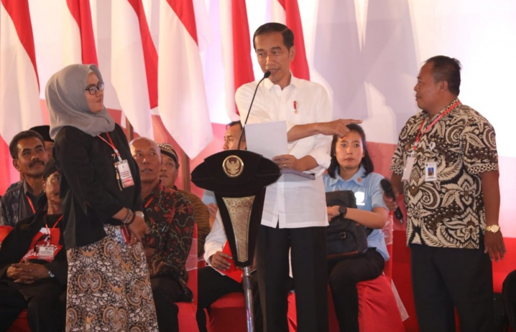 Presiden Joko Widodo bertemu dengan 7.809 kepala desa se-Jawa Tengah di Pusat Rekreasi dan Promosi Pembangunan (PRPP) Jawa Tengah, Kamis, 22 November 2018. Medcom.id/ Budi Arista Romadhoni.