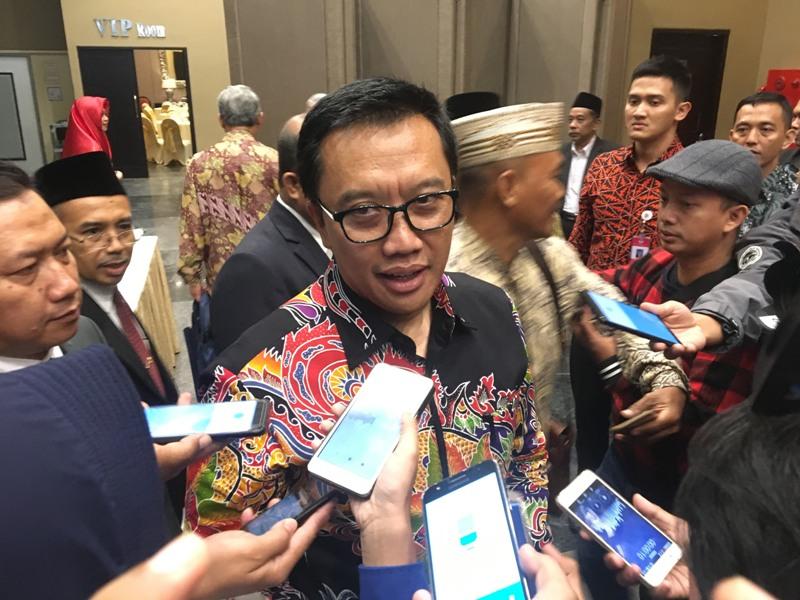Menpora Imam Nahrawi, usai menghadiri Wisuda Universitas Sunan Giri di Dyandra Convention Hall Surabaya, Jawa Timur, Minggu, 25 November 2018. (Medcom.id/Amal).