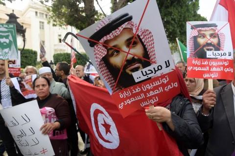 Demonstran Tunisia Kecam Kunjungan Putra Mahkota Saudi