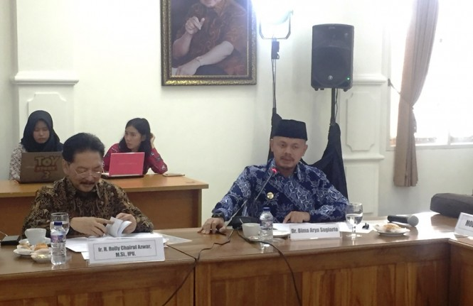 Wali Kota Bogor Bima Arya Sugiarto pada forum diskusi yang diselenggarakan DPD RI bekerja sama dengan Media Group  di Istana Cipanas, Jawa Barat, Rabu, 28 November 2018 (Foto:Medcom.id/Gervin Nathaniel Purba)