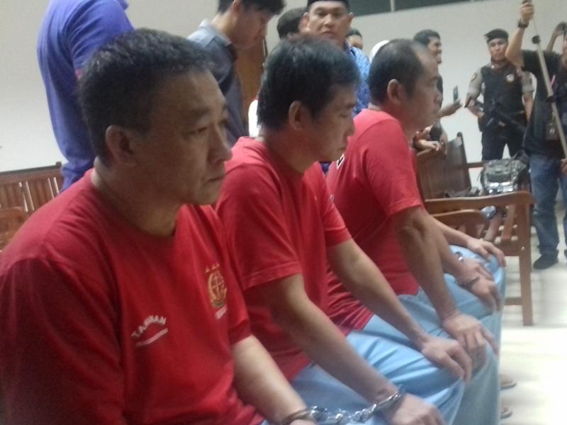 Empat terdakwa warga negara Taiwan mendengar vonis perkara penyelundupan narkoba 1,03 ton, di PN Batam, Kamis, 29 November 2018. Medcom.id/Anwar Sadat Guna
