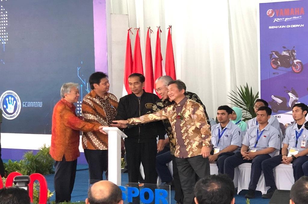 Jokowi harap ekspor Yamaha dapat terus meningkat. Medcom.id/Ahmad Garuda