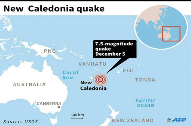 Grafis gempa bumi 7,5 SR di lepas pantai Kaledonia Baru, 5 Desember 2018. (Foto: AFP)