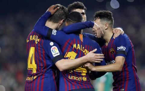 Skuat Barcelona saat menghadapi Cultural Leonesa (Foto: