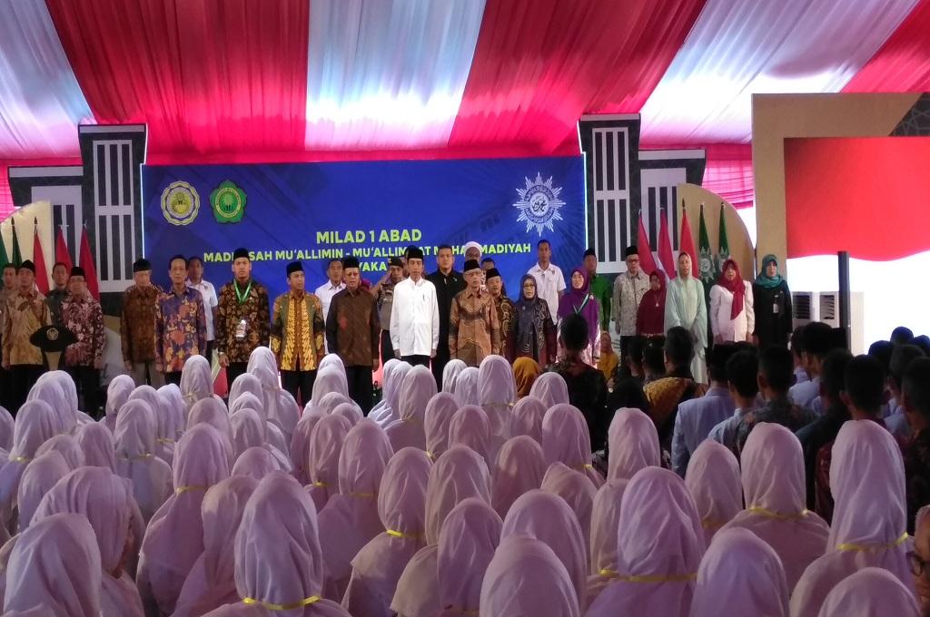 Presiden Jokowi menghadiri Milad 1 Abad Madrasah Muallimin-Muallimat Muhammadiyah di Yogyakarta, Kamis, 6 Desember 2018, Medcom.id - Vicka