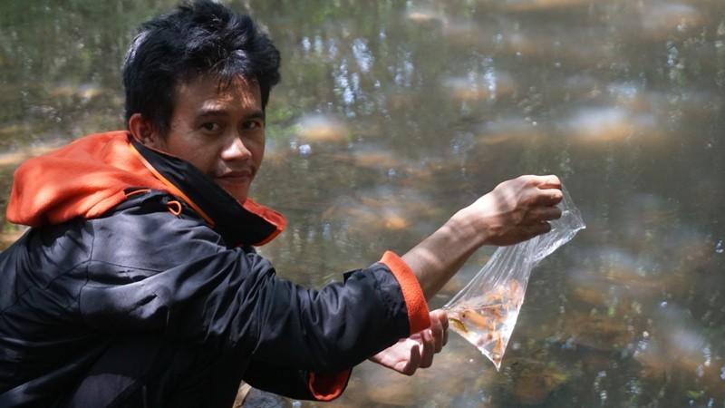 Adi Kamal melepas ikan di Sungai Troso