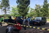 Pelatihan menangani kecelakaan pada mobil yang mengangkut limbah radioaktif di Tangerang Selatan, Kamis, 6 Desember 2018, Medcom.id - Farhan Dwi