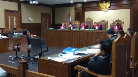 Suasana persidangan Lucas di Pengadilan Tipikor Jakarta, Kamis