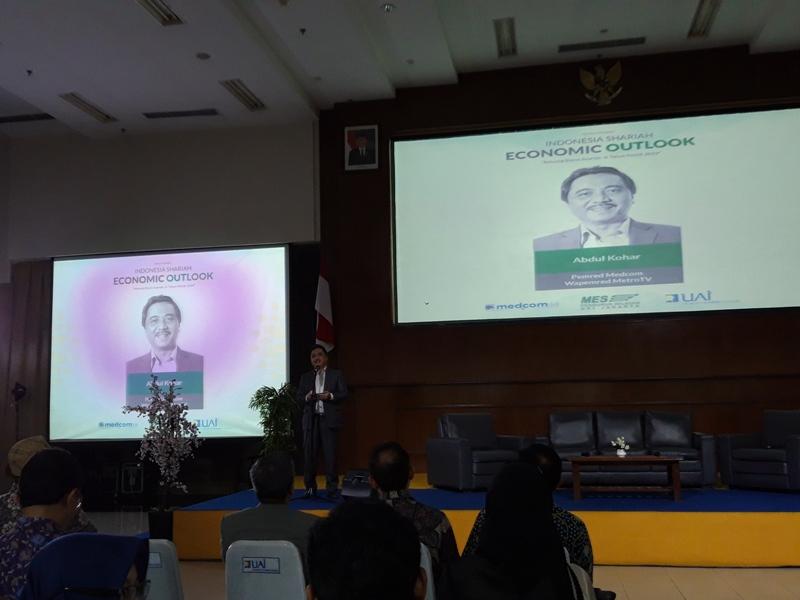 Pemimpin Redaksi Medcom.id Abdul Kohar di Auditorium Universitas Al-Azhar, Senin, 10 Desember 2018. Medcom/ Ade Hapsari Lestarini.