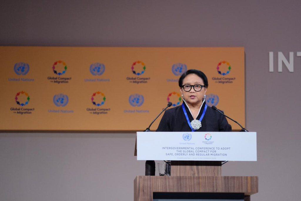Menteri Luar Negeri Retno Marsudi dalam Konferensi Keimigrasi PBB di Maroko. (Foto: Twitter/@Menlu_RI).