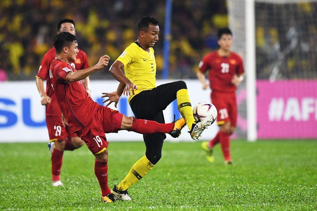 Laga Malaysia kontra Vietnam di leg pertama final Piala AFF 2018, Selasa 11 Desember (Mohd RASFAN / AFP)