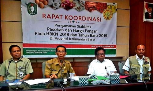 BKP Kementan menggelar rakor pengamanan stabilisasi pasokan dan harga pangan menjelang HBKN Natal dan Tahun Baru 2019, di aula pertemuan Bank Indonesia, Kota Pontianak, Selasa, 11 Desember 2018 (Foto:Dok.Kementan)