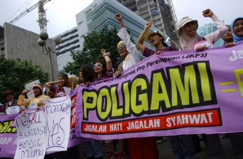 Unjukrasa tolak poligami. Foto MI
